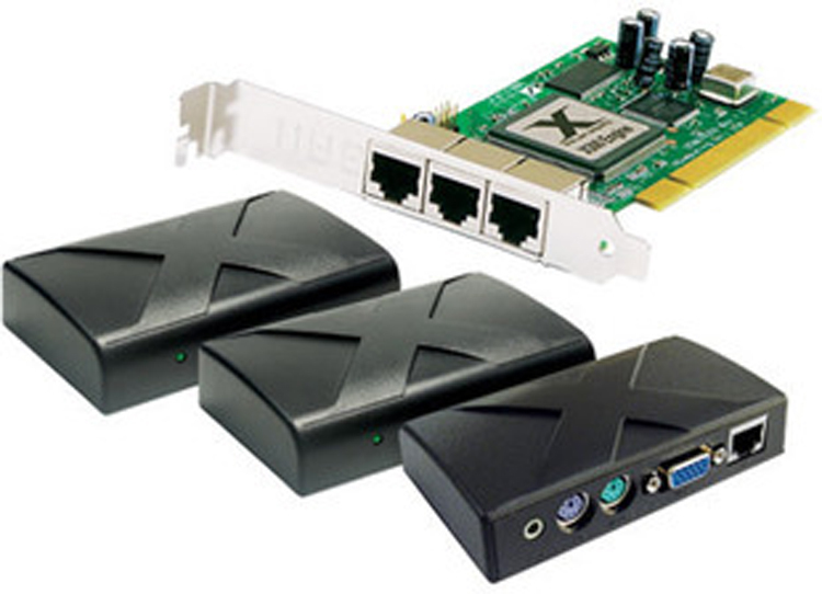 Free shipping 1 pc sharing with up to 7 terminals multi media pc station xtenda x300 1 PCI card, three small access terminals