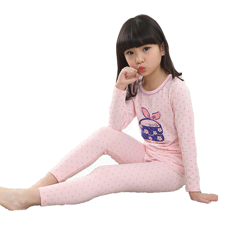 Girls underwear suits the new 2016 spring thin children long sleeve long Johns pajamas cotton baby girls pink kids suit boutique(China (Mainland))
