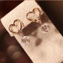 2015 new brand cheap wholesale fashion jewelry earring love CZ crystal pendants dangling earrings for women free shipping