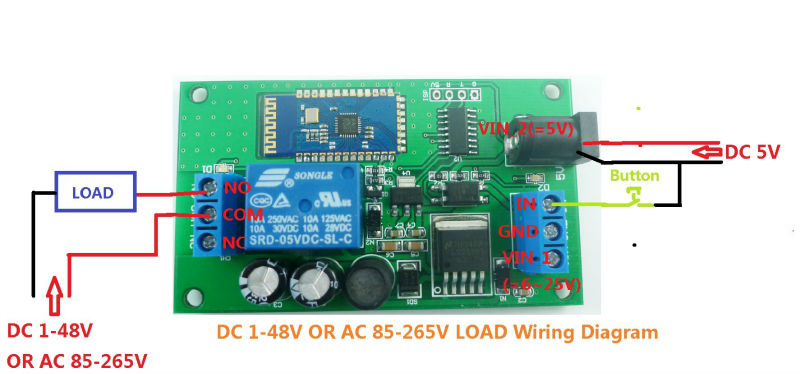 12v 2 4g bluetooth relay android mobile remote control for light 4 power supply is dc 5v load is dc 5v circuit wiring diagram below