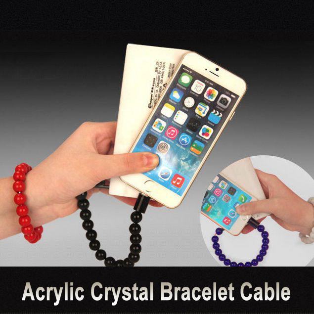 Colorful Wearable Crystal Bead Bracelet Cable Hand Chain Micro USB 8 Pin Sync Charging Cable For iPhone 5 6 Plus For Samsung S4(China (Mainland))