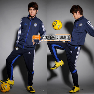 2012 chelsea football training services soccer jersey long-sleeve sports set tight soccer jersey(China (Mainland))