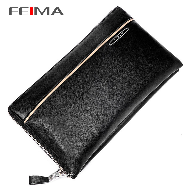 New 2015 Fashion Brand Men's Wallet Genuine Leather High Quality Zipper Business Purses Card Holder Male Clutch Bags Black Brown