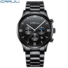 CRRJU Men Stainless Steel Quartz Watch Waterproof Timing Luminous Calendar Mens Watches Top Brand luxury Watch Relogio Masculino(China)