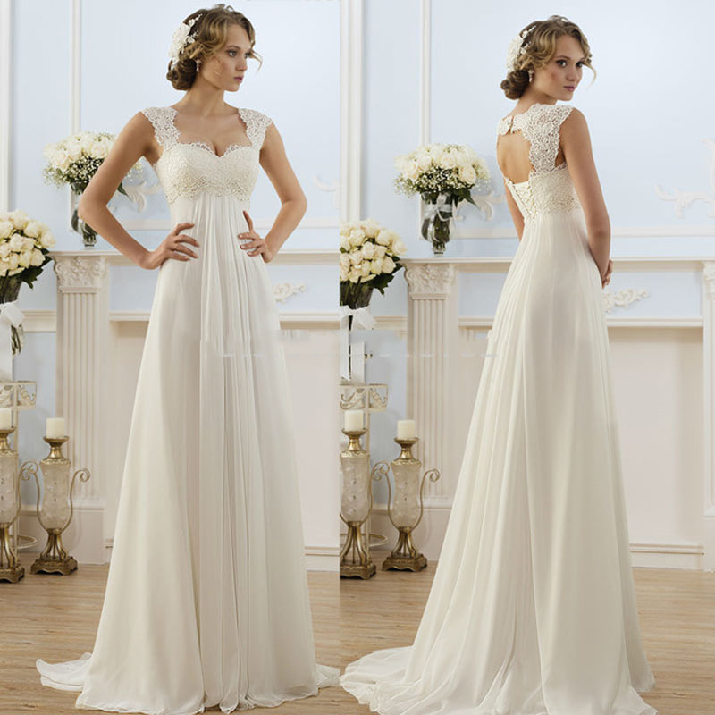 2016 summer beach wedding dress a line lace top bride for Best dresses for summer wedding
