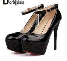 2016 Gladiator Ankle Straps High Heel women shoes Party Wedding Shoes Black White Red Platform Pumps for Women(China (Mainland))