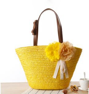 2015 new arrived The new fashion handbag rural straw hobo bag the cane makes up bag shell bag woven beach bag free shipping(China (Mainland))