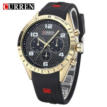 Curren Watches Men Luxury Brand Sport Rubber Strap Watch Men Casual Quart Anlog Wristwatches Relogio Masculino,W8131