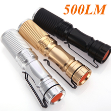 Adjustable Focus Zoomable Light Lamp CREE LED Flashlight Torch 3-mode 500LM Black/Golden/Silver Flashilight For Camp Bicycle(China (Mainland))
