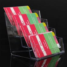 High Quality Multi-function Portable 4 Pocket Clear Desktop Office Counter Acrylic Name Card Business Card Holder Stand Display(China (Mainland))