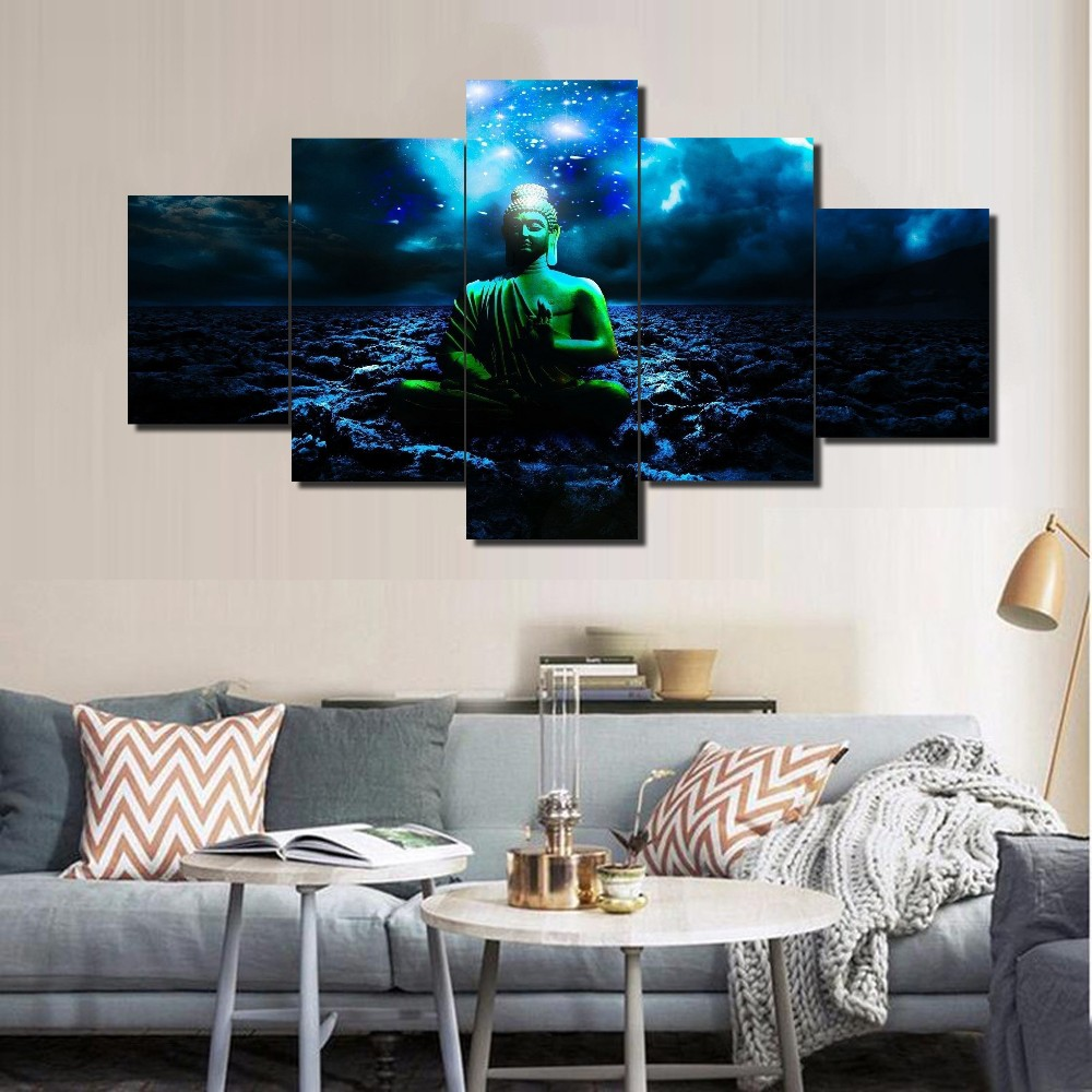 5 Panel Modular Home Decor Wall Art Buddha Painting Cuadros Landscape Canvas Wall Art Home Decor For Living Room Canvas Painting