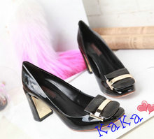 Famous Brand Lady High Heels Women Shoes Rough Heels Genuine Leather Logo Printed Top Quality Package (Dust Bag,Box) #LOV-01(China (Mainland))