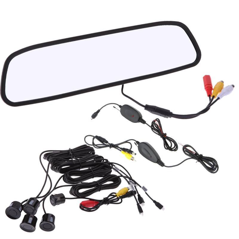 "12V 4 Parking Sensors Alarm 4.3"" TFT LCD Display Car Rearview Mirror Reverse Radar System + Wireless Transmitter&Receiver Set(China (Mainland))"