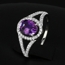 Genuine 925 Fine Jewelry Natural Amethyst Ring 925 Sterling Silver Rings For Women (Silveren SI1278)(China (Mainland))