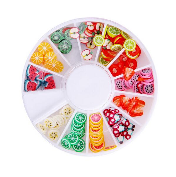 DIY Nail Art wheel Decorations Fruit Slices 3D Polymer Clay Tiny Fimo Wheel Nail Art Rhinestones Acrylic Decoration Manicure(China (Mainland))