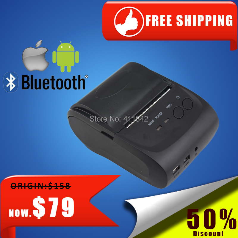 Фотография portable bluetooth thermal printer  mini 58mm usb receipt printer bluetooth android&ios pos printer mobile printer