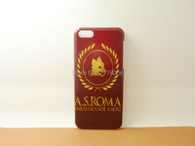 1 Piece Free Shipping Painting Printed AC Roma Logo White Plastic Hard Skin Cover For Apple iphone 5C Mobile Cell Phone Case(China (Mainland))