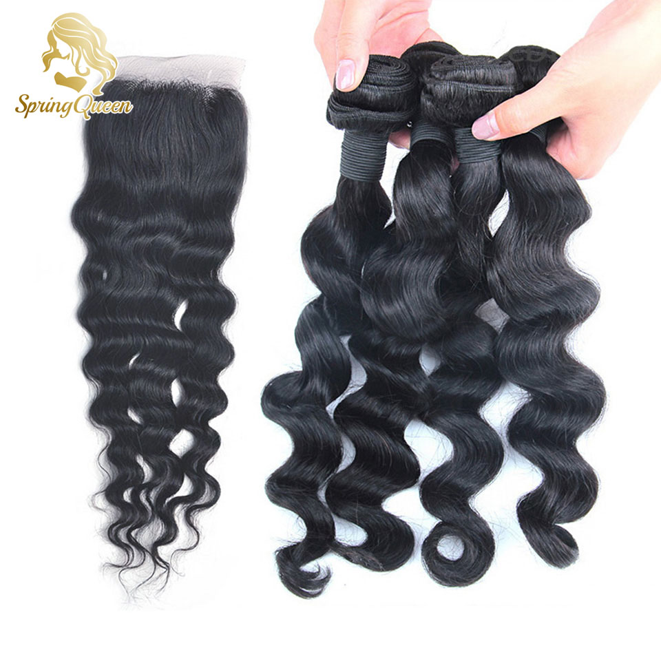 Spring Hair Unprocessed Queen Hair Brazilian Loose Wave Human Hair 4 Bundles With Closure Natural Black  Aliexpress uk<br><br>Aliexpress