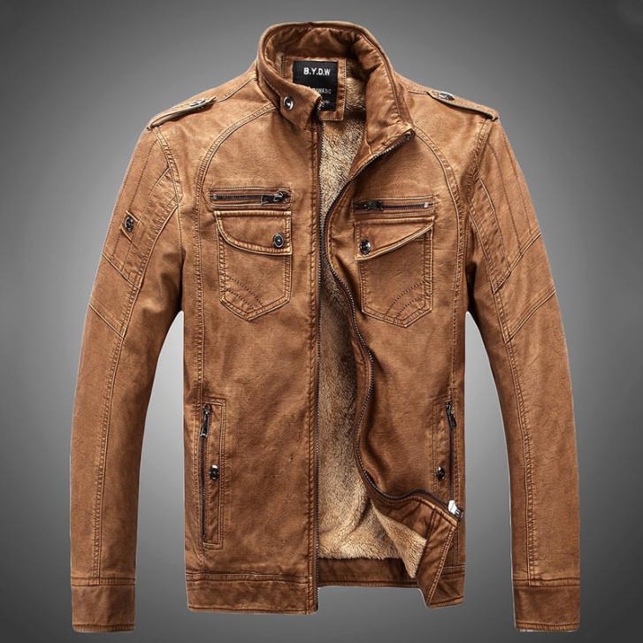 2015 New Arrivals Autumn Brand Leather Jacket Men Jaqueta Couro Masculino Bomber Leather Jacket Sheepskin Coat Motorcycle Jacket