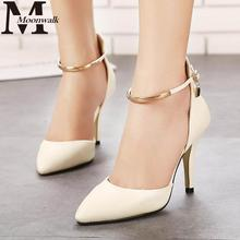 2016 Summer style Fashion Pointed Toe Women Pumps Patent Leather High Heels Sexy Rivet Ladies Wedding sexy shoes MOON WALK J4020(China (Mainland))