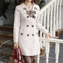 Newest  Koean Style Double Breasted Trench Women Mandarin Collar Buttons Slim Fall Long Coat Trench With Ribbon M L XL XXL(China (Mainland))