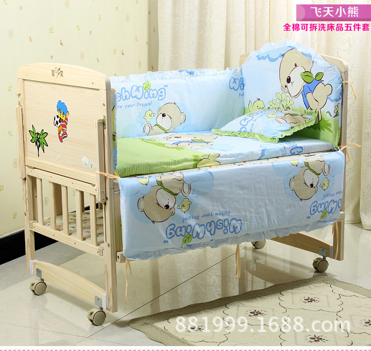 Фотография Promotion! 10PCS Baby Bedding Set Cot Crib Bedding Set bedclothes (bumper+matress+pillow+duvet)