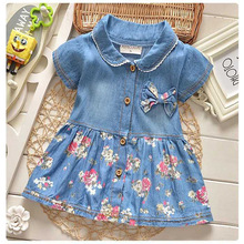 2016 summer leisure style children girls flower jean dress baby girls cute bow denim dress kid lapel fashion dress outfits(China (Mainland))