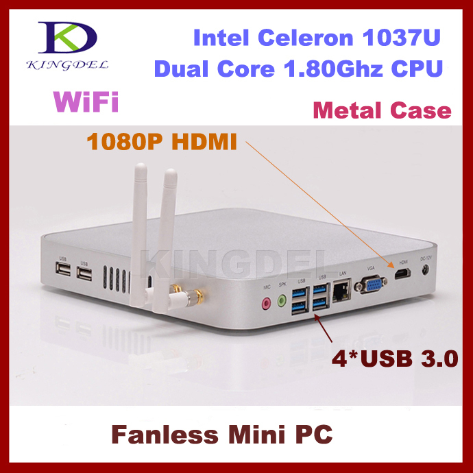 DHL free shipping 2G RAM+500G HDD Fanless Tiny PC With Intel Celeron 1037U Dual Core 1.8GHz computer HM77 Chipset mini pc HTPC(China (Mainland))
