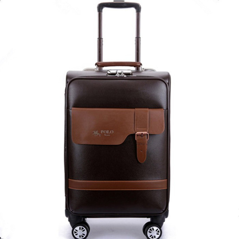 "BOLO BRAVE 20""24""inch Business Boarding Luggage,Retro Universal wheels trolley Case,password lock Suitcase,fashion PU travel bag(China (Mainland))"