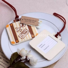 """100pcs """"Let the Journey Begin"""" Vintage Suitcase Luggage Tag Wedding favor DHL Fedex Free shipping #HG46(China (Mainland))"""