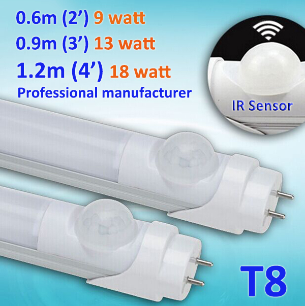 Motion Sensor Induction LED tube light for underground parking area 2ft 3ft 4ft T8 9w/13w/18w, Replace 40w/60w Fluorescent Tube(China (Mainland))