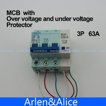 Buy 3P 63A 400V~ 50HZ/60HZ MCB with over voltage and under voltage protection Mini Circuit breaker C45 C type for $5.23 in AliExpress store