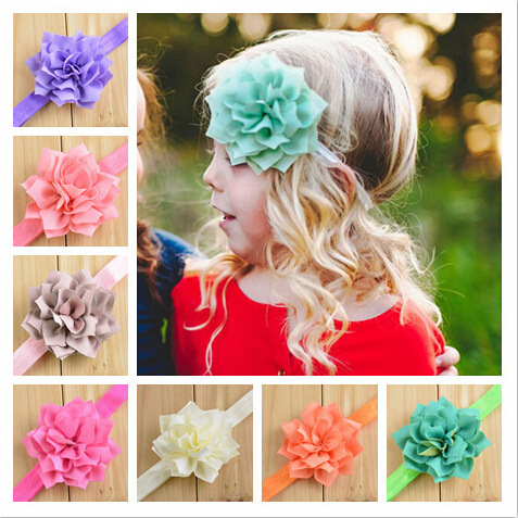 Hot New Little Girls Soft Elastic Nylon Headbands with Layers Chiffon Sharp Corners Rose Flower Baby Hairbow Accessory 20pcs/lot(China (Mainland))