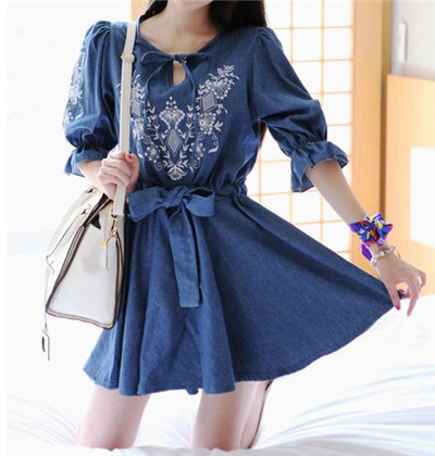 Korean fashion women denim dresses o-neck half sleeve dress cute slim embroidery pleated plus size Jeans - xue mao wang's store