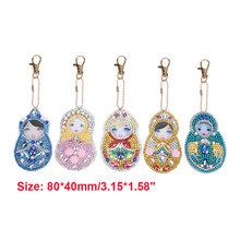 1-6 PCS DIY Diamante Chaveiro Chaveiro Chaveiros Em Forma de Especial de Pintura Cheia de Diamantes Cruz Ponto de Bordado Mulheres Saco Chave cadeia(China)
