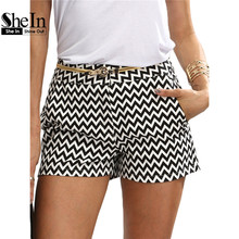 SheIn Woman Shorts Summer New Arrival Black and White Mid Waist Button Fly Casual Pocket Cotton Straight Shorts(China (Mainland))