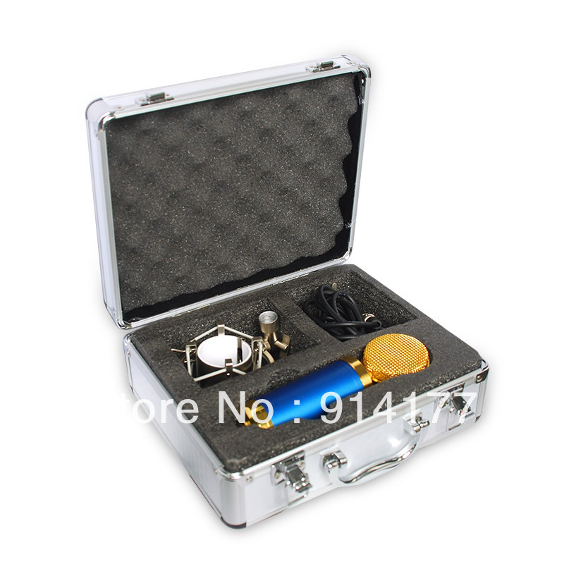 Blue Condenser Mic Portable Microphone Professional Recording Mic+Shockmount+Sponge Cover+Silver Mic case 1.2M 3.5 mm Cable(China (Mainland))