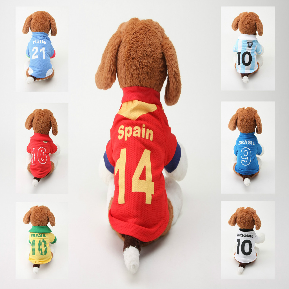 2016 Summer Cheap Dog Clothes for Small Dogs T shirt soccer jersey Pets Cats Chihuahua Puppy Clothes ropa perro(China (Mainland))