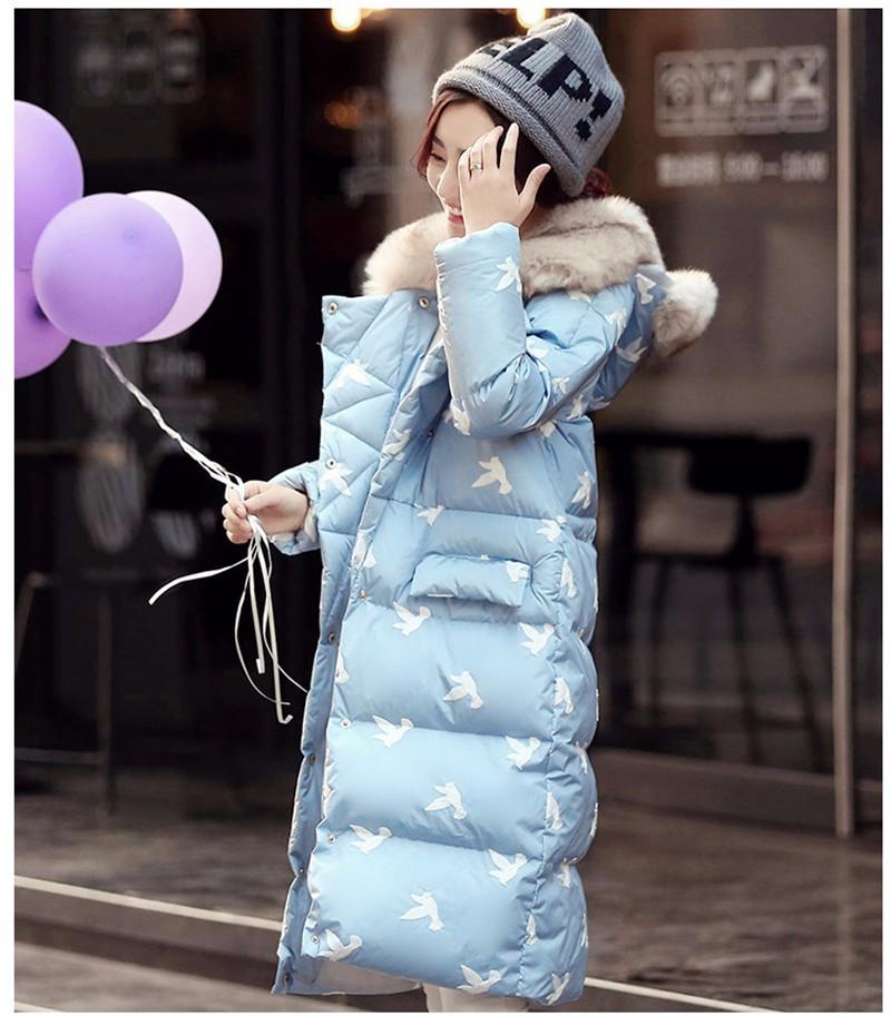 Скидки на 2016 осень и зима Корейских женщин в длинный отрезок хлопка пуховик с капюшоном куртки хлопка толстые свободные для womem