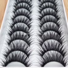 New High-quality Fiber Thick False Eyelashes Handmade Cotton Stems Fake Eyelashes Naturally Smoked Makeup Lashes(China (Mainland))
