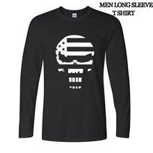 American Sniper Chris Kyle Men T Shirt Punisher Skull Navy Seal Team autumn long sleeve Fashion Top Tee Casual Tshirt S-2XL(China (Mainland))