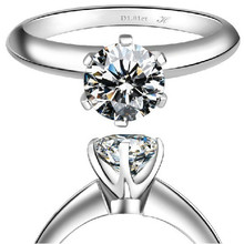3Ct Synthetic Diamond Wedding Ring 18K White Gold Rings for Women Six Prong Pretty Gifts for Girlfriend OEM Factory Customize(China (Mainland))