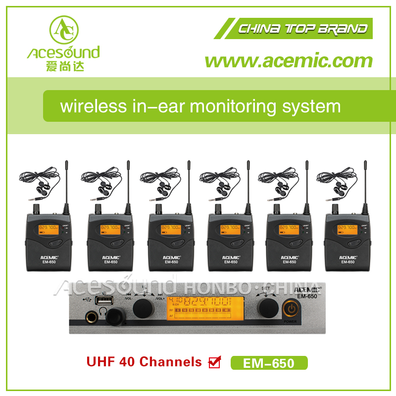 ACEMIC EM-650 Professional wireless in ear monitor system for stage performance,church tour guide USB+MP3,6*receivers(China (Mainland))