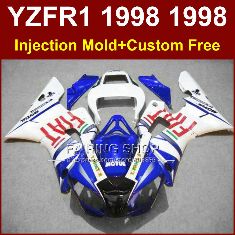 FIAT Injection blue white fairings kit for YAMAHA YZF R1 YZF1000 98 99 motorcycle fairing parts R1 1998 1999 YZF R1 +7Gifts(China (Mainland))