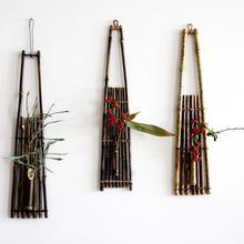 G Wall-mounted bamboo flower basket floral wall hanging pendants vasos decorativos vertical garden jardim vertical handmade T(China (Mainland))