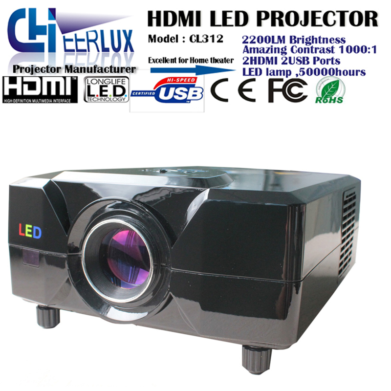 cheap free shipping support 3d movies projectors with hdmi ports usb inputs native resolution for home use cinema theater games(China (Mainland))