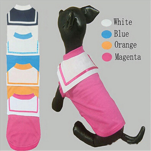 Dog Clothes Pet Clothing Puppy Clothes Short-sleeved T-shirt Navy Suit Material Denim 4 Colors Option 1 pcs/lot(China (Mainland))