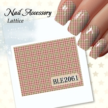 1 Pcs Colorful Grid Water Transfer 3D Nails Sticker Decals 11 Design Beauty Stickers For Nail Art Tips JH047