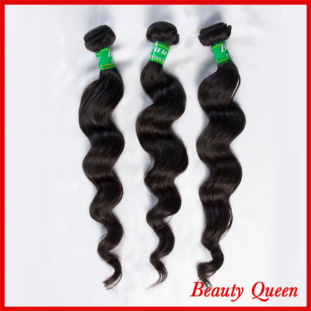7A Queen hair products Loose wave Natural color Tangle Free No Shedding 3 Bundles DHL Free shipping