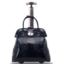 2015 Fashion vintage portable trolley, 20inches high imitation Crocodile leather travel bag, wheel luggage,personality suitcase(China (Mainland))